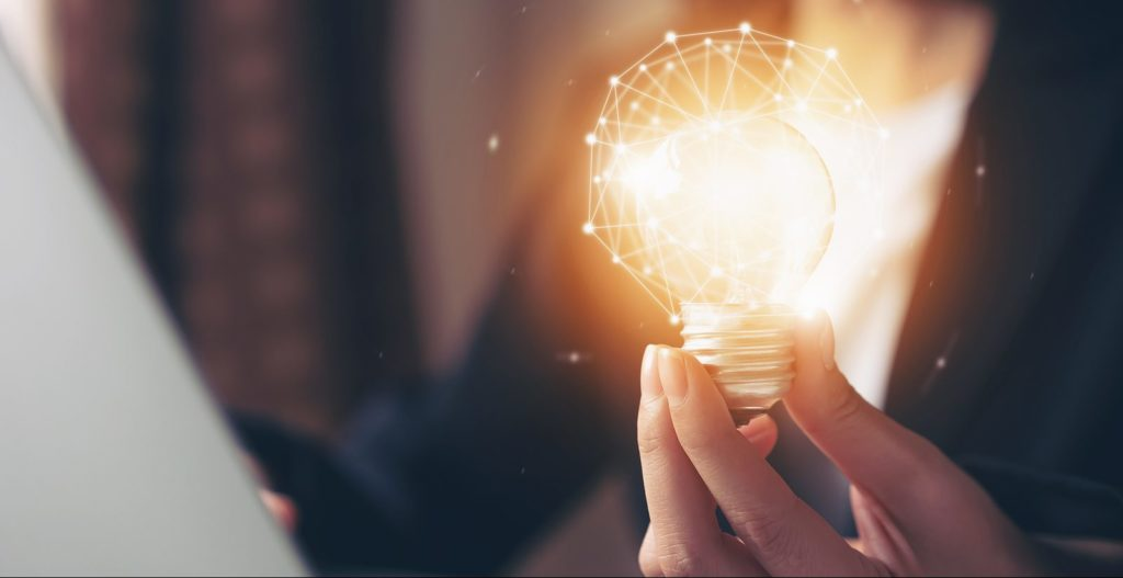 Lightbulb concept of innovative ideas to advance your Project management Career